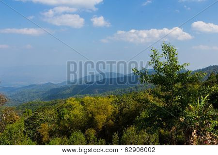 Landscape Mountain View Background At Doi Mae Taman Chiang Mai At Thailand