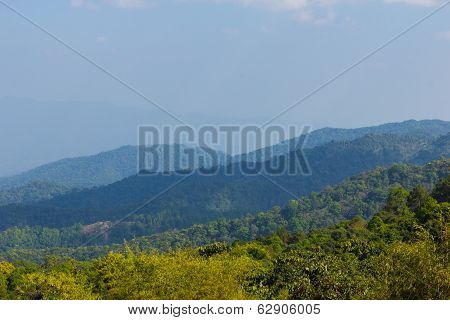 Mountain View Background In Day Light At Doi Mae Taman Chiang Mai At Thailand