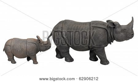 cray rhino and calf