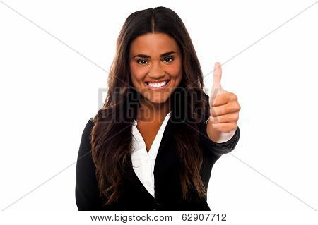 Business Woman Cheerful Thumb Up