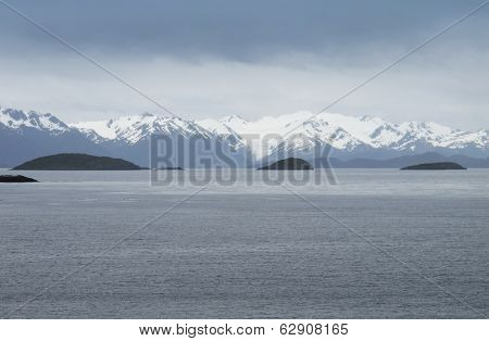 Patagonian Cloudy Landscape With Mountains.