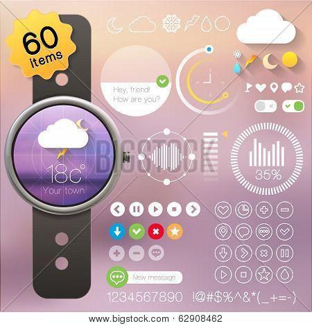User interface set for clock, watch