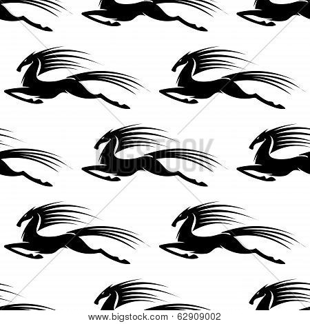Graceful galloping horse in a seamless pattern