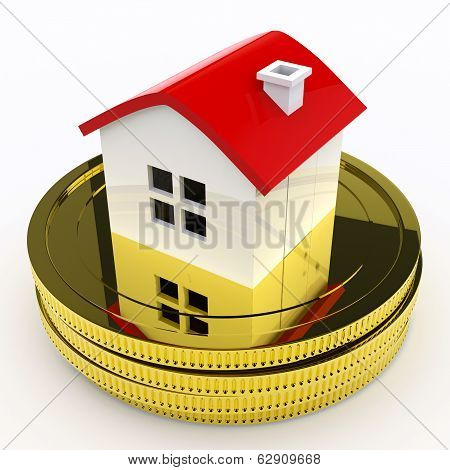 House On Money Means Purchasing Or Selling Property