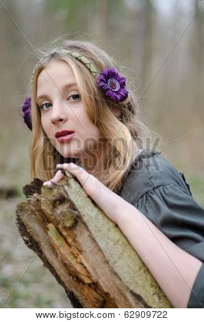 Close Up Portrait Of A Girl In A Folk  Medieval Style