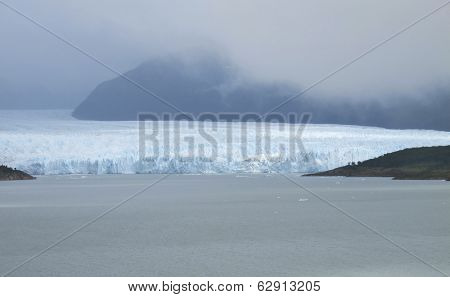 Patagonian Landscape With Glacier And Mountains.