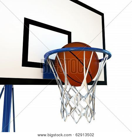 Ball Bouncing On A Basketball Backboard
