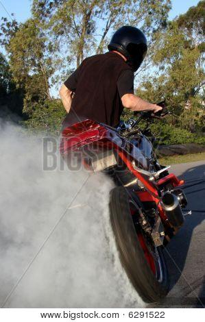 Motorbike Rider Doing Stunt