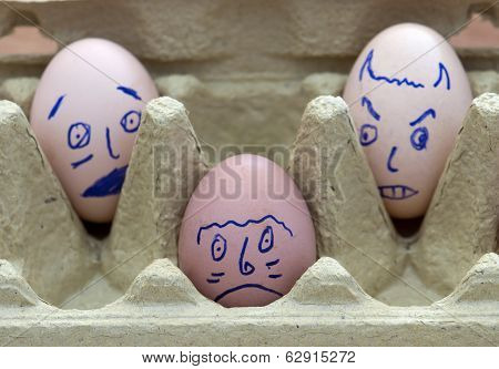 Three Face Painted Eggs
