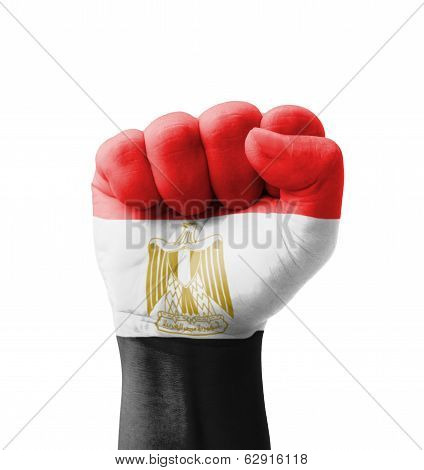 Fist Of Egypt Flag Painted, Multi Purpose Concept - Isolated On White Background