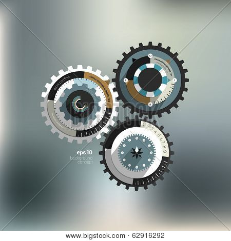 Exclusive circle flat infographic diagram. Business cog wheel template concept for brochure, catalog