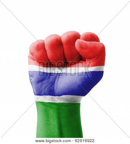 Fist Of Gambia Flag Painted, Multi Purpose Concept - Isolated On White Background