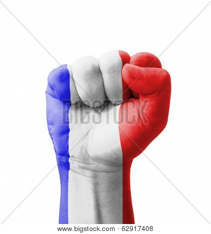 Fist Of Guadeloupe Flag Painted, Multi Purpose Concept - Isolated On White Background