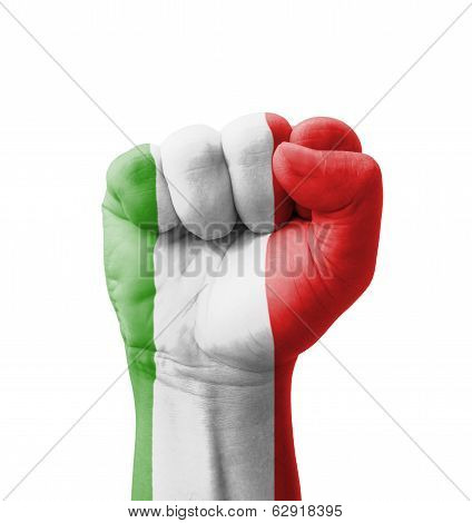 Fist Of Italy Flag Painted, Multi Purpose Concept - Isolated On White Background