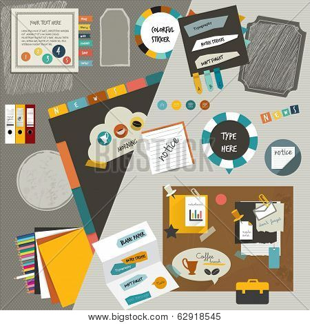 Work office web layout flat components. Colorful graphic template. Folder, sticker, graph, tab, data