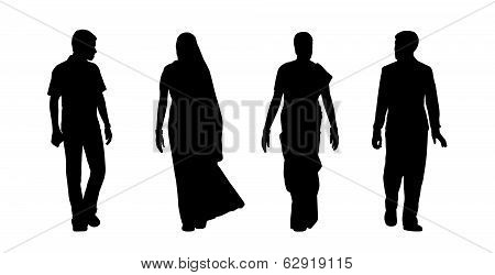 Indian People Walking Silhouettes Set 5