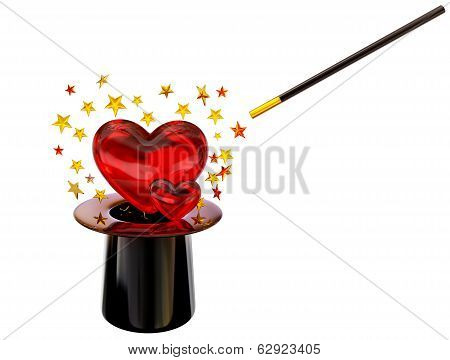 Retro hat with magic wand for love spell