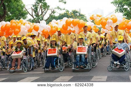 Group Of Invalid People On Wheelchair