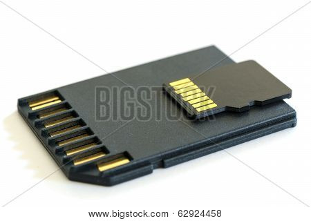 Black Microsd Memory Card And Sd Card Adapter