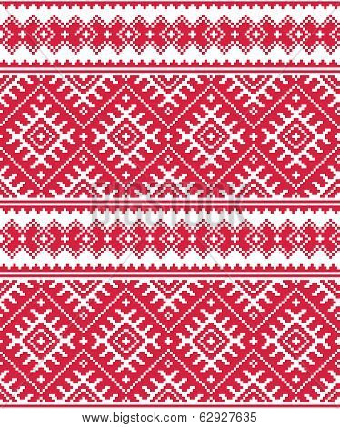 Ukrainian red seamless folk emboidery pattern or print