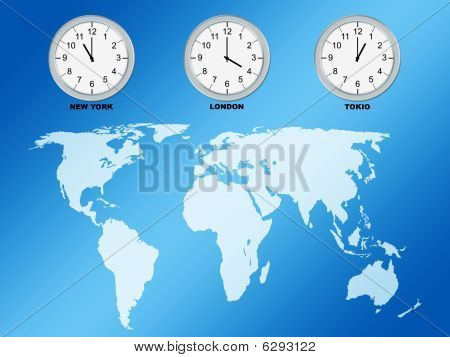 World Map And Clocks