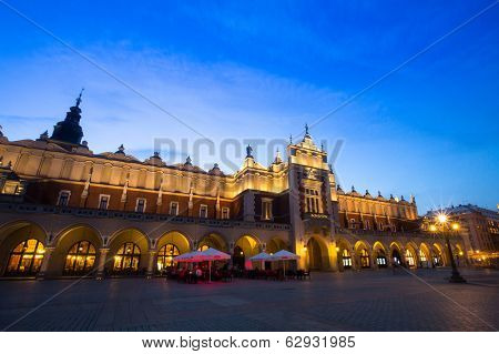 KRAKOW, POLAND - APR 7, 2014: Sukiennice on Rynek Glowny (Market Square) in night time. Rynek Glowny - roughly 40,000 m2 is largest medieval town square in Europe.