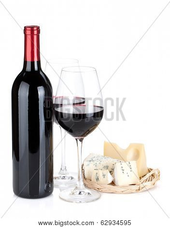 Red wine and cheese. Isolated on white background