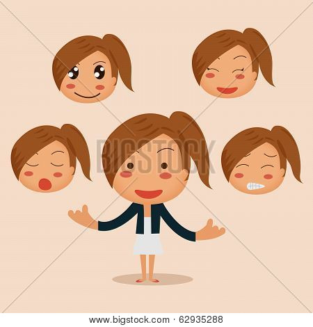 A Vector Illustration Of Young Business Woman With Different Emotion