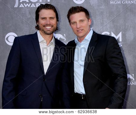 LAS VEGAS - APR 6:  Joshua Morrow, Steve Burton at the 2014 Academy of Country Music Awards - Arrivals at MGM Grand Garden Arena on April 6, 2014 in Las Vegas, NV