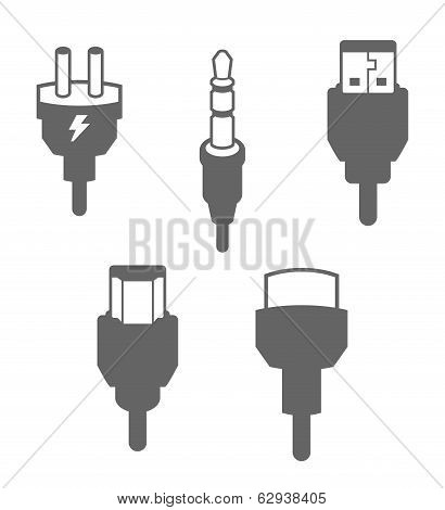 Icon Set, Plugs and Cables