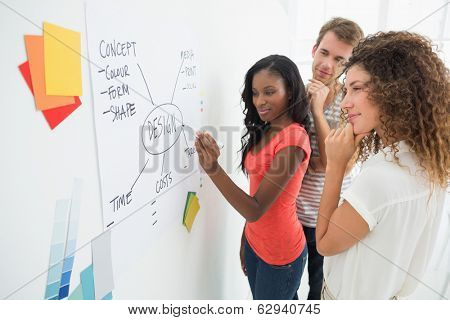Designer writing a flowchart on whiteboard while colleagues watch in creative office