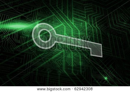 Key against green and black circuit board