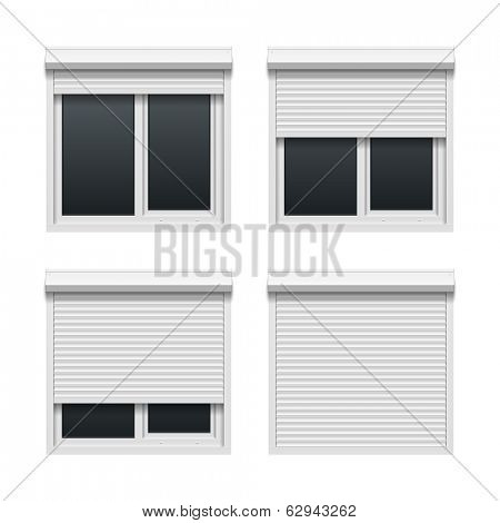 Window with roller shutters. Vector.
