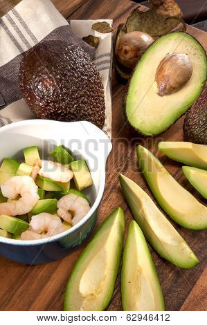 Sliced Ripe Avocado With Shrimps In Ceramic Mini Cocotte