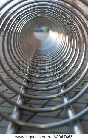 Steel Chrome Spiral Bicycle Parking Place. View From Inside.