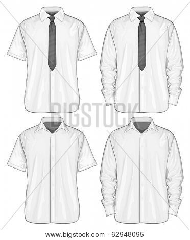 Vector illustration of dress shirts (button-down) with  and without neckties. Short and long sleeve. Front view