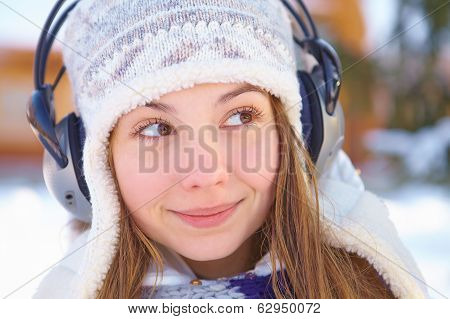 Woman Listening to Music.