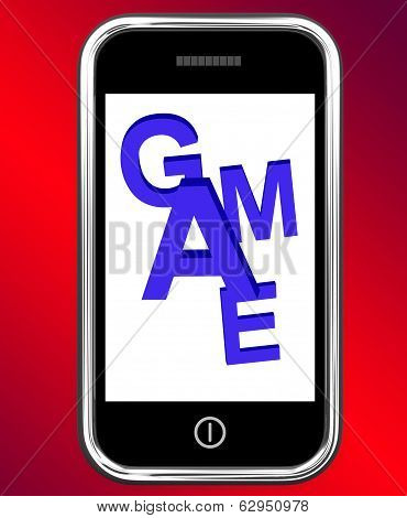 Game On Phone Shows Online Gaming Or Gambling