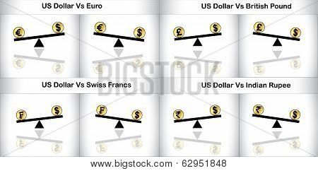 Concept Illustration Of Global Forex Trading Between Three Major Currencies