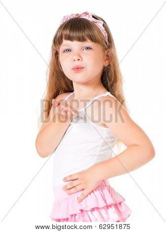Happy little girl sends kiss over white background