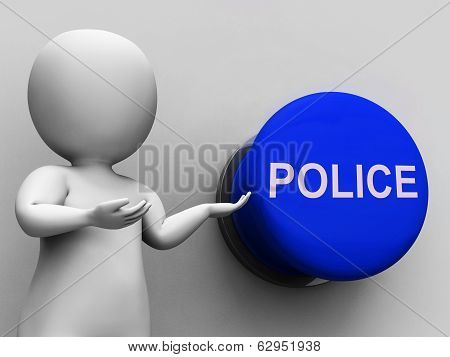 Police Button Means Law Enforcement Or Officer
