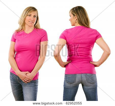 Woman In Her Forties Wearing Blank Pink Shirt
