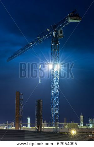 Crane. Construction. Night Sky.