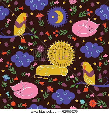lullaby pattern, sleepy cute animals
