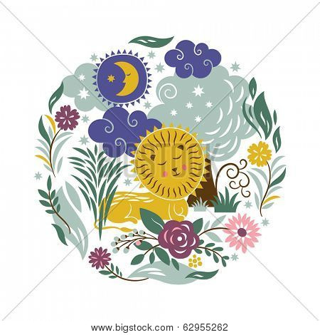 Sleeper Lion with a entourage of trees and flowers