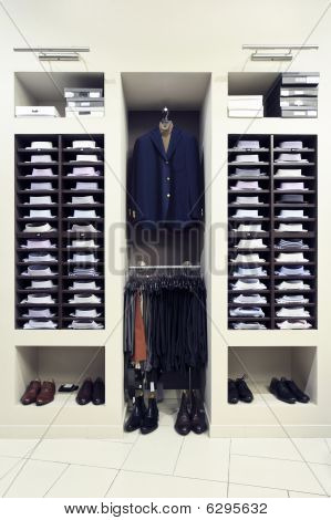 Stylish clothes in shop