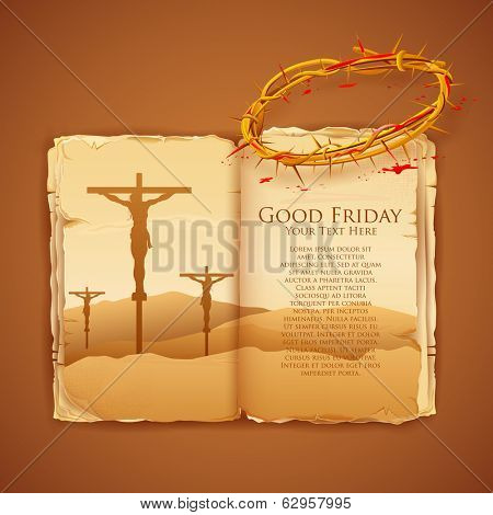 illustration of Jesus Christ on cross on Good Friday Bible