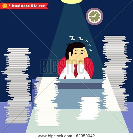 Businessman sleeping at the desk