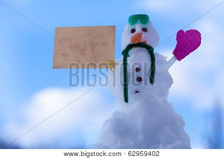 Little Happy Christmas Snowman Paper Card Message Outdoor. Winter.