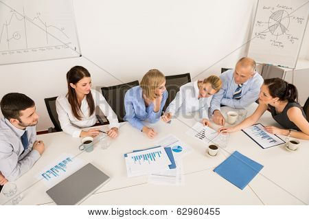 High angle view of business team discussing in boardroom meeting